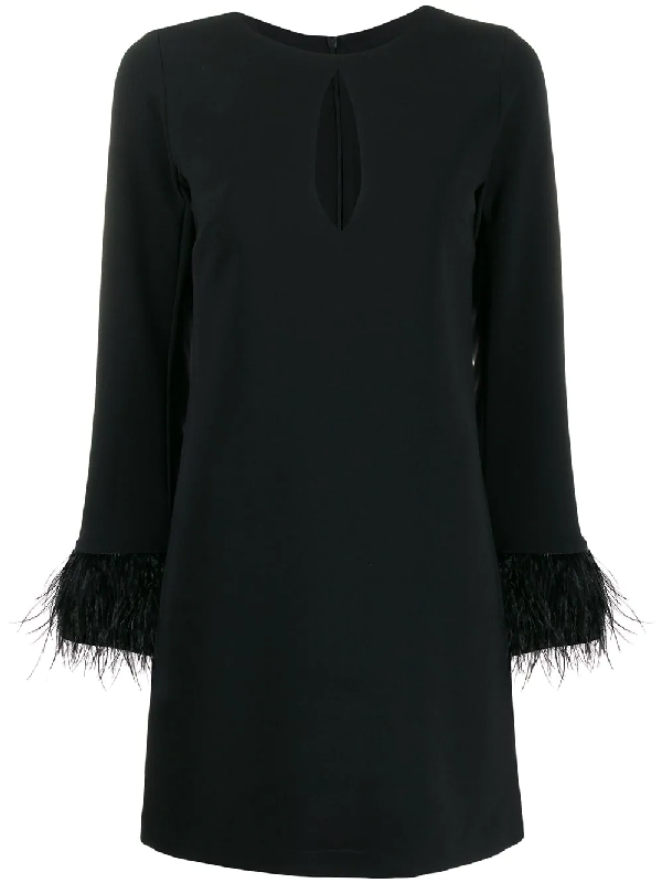 Blanca Feather-trimmed Shift Dress In Black