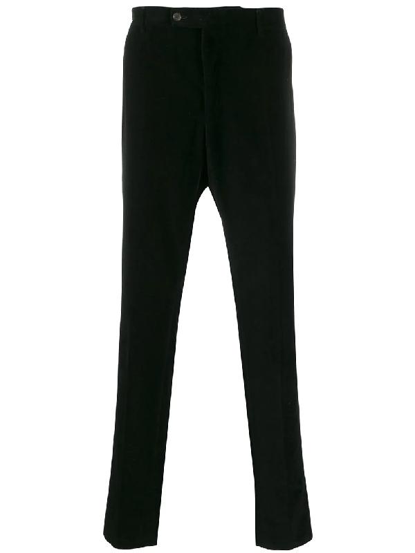 Saint Laurent 1990s Velvet Effect Tapered Trousers In Black
