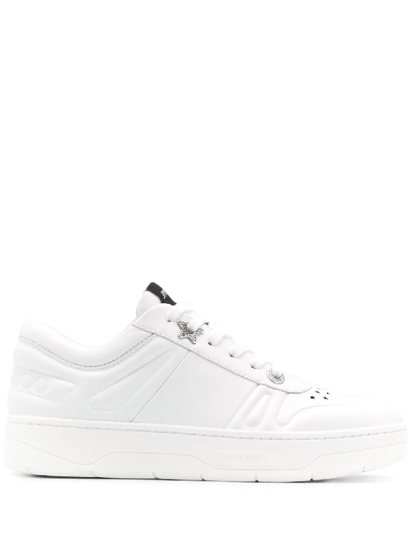 Jimmy Choo Hawaii Crystal-embellished Perforated Leather Sneakers In White