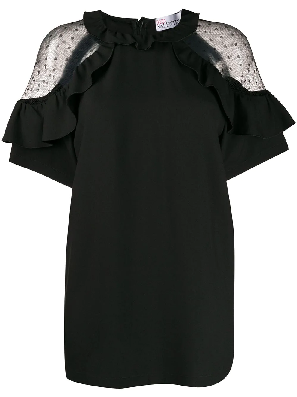 Red Valentino Sheer Panels Ruffled Blouse In Black