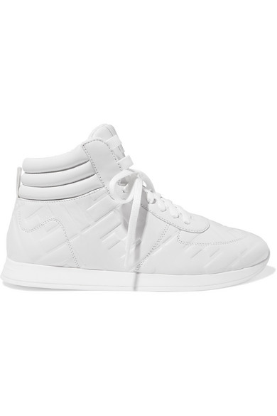 Fendi White Nappa Leather High-top Sneakers With All Over Ff Ss 2020