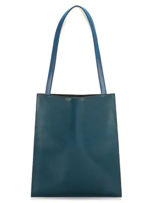 The Row Leather Flat Tote In Teal
