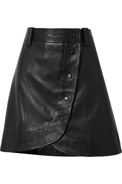 Ganni Wrap-around Buttoned Leather Mini Skirt In Black