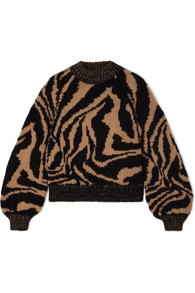 Ganni Tiger-jacquard Balloon-sleeve Wool-blend Sweater In Neutral