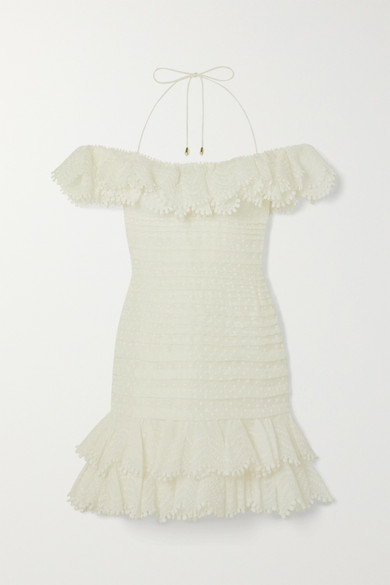 Zimmermann Super Eight Off-the-shoulder Ruffled Pleated Linen And Silk-blend Mini Dress In Ivory