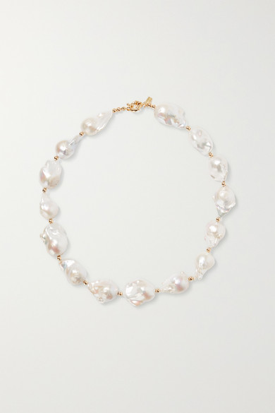 Eliou Gold-tone Bead And Pearl Necklace