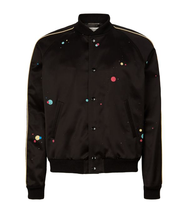 Saint Laurent Black & Multicolor Logo Teddy Bomber Jacket