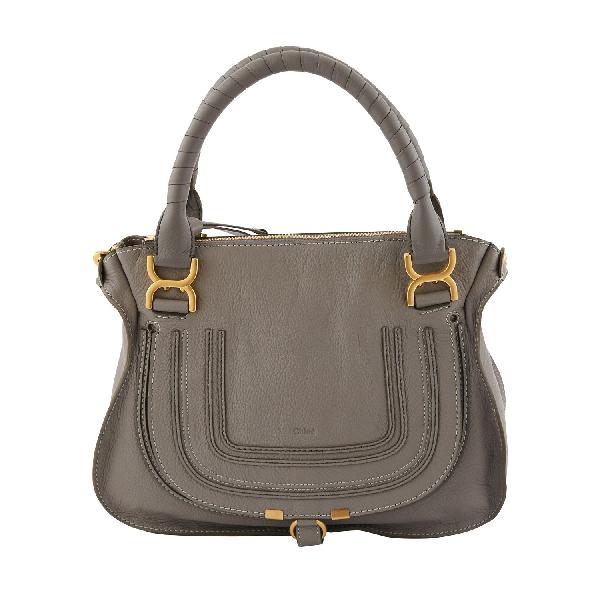 ChloÉ Marcie Medium Leather Shoulder Bag In Cashmere Grey