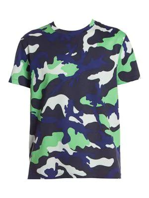 Valentino Camo T-shirt In Green Navy