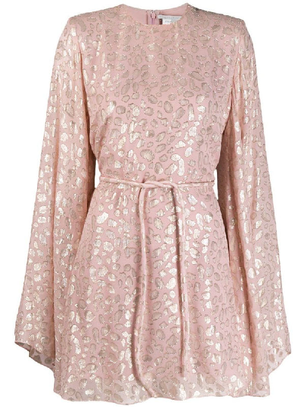 Stella Mccartney Belted Metallic Fil CoupÉ Silk-blend Mini Dress In Pink