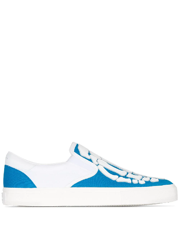 Amiri Blue Skeleton Canvas And Leather Skate Sneakers In White ,blue