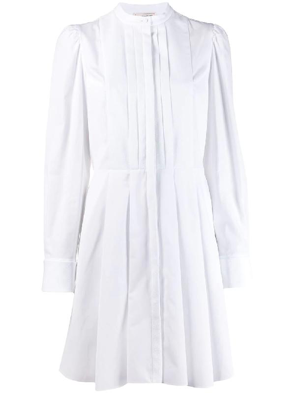 Alexander Mcqueen Cotton Poplin Mini Dress W/pique Detail In 白色