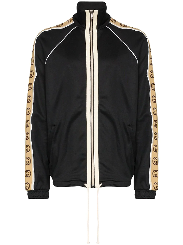 Gucci Logo-jacquard Webbing-trimmed Tech-jersey Track Jacket In Black