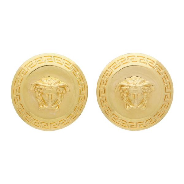 Versace Gold-tone Medusa Stud Earrings In Kot Gold