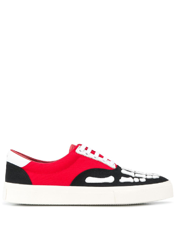 Amiri Skel Toe Leather-trimmed Colour-block Canvas Sneakers In Black ,red