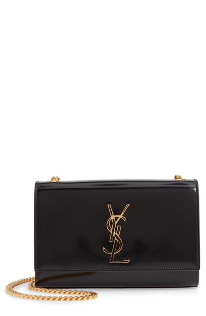 Saint Laurent Kate Small Shiny Box Crossbody Bag In Noir