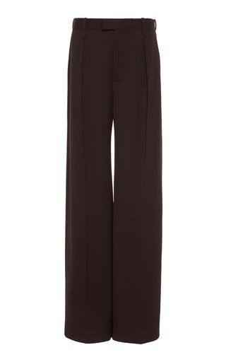 Bottega Veneta Mid-rise Wool Pleated Wide-leg Trouser In Brown