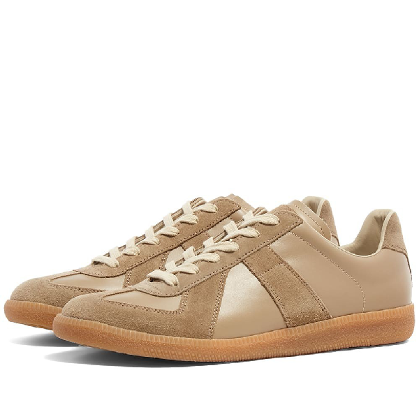 Maison Margiela Replica Suede-paneled Leather Low-top Sneakers In Neutrals