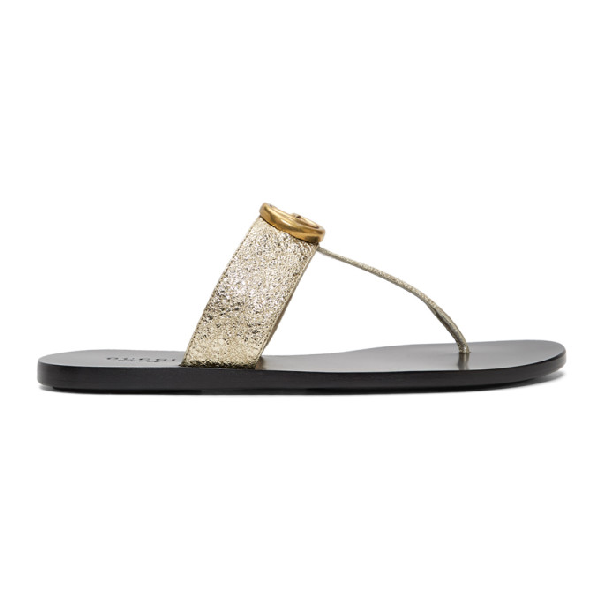 Gucci Marmont Logo-embellished Metallic Textured-leather Sandals In Silver