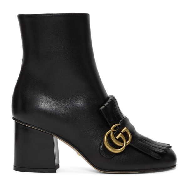 Gucci Marmont Fringed Logo-embellished Leather Ankle Boots In 1000 Black