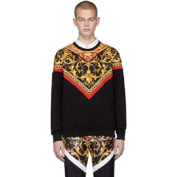 Versace Printed Loopback Cotton-jersey Sweatshirt In A7207 Blkgl