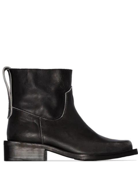 Ganni Mc Distressed Leather Western Boots In Black