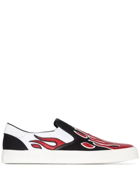 Amiri Skel Toe Leather-appliquÉd Canvas Slip-on Sneakers In Blk Wht Red