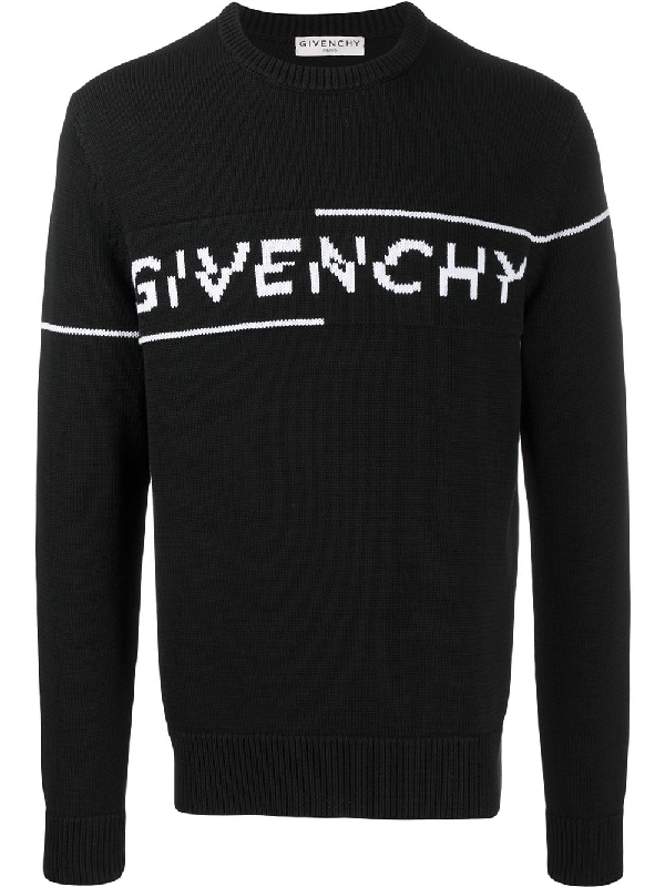 Givenchy Intarsia Logo Knit Sweater Black/white