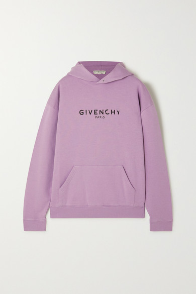 Givenchy Logo Print Jersey Sweatshirt Hoodie In Lilac