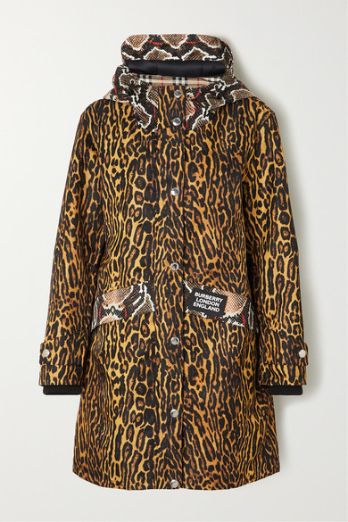 Burberry Cramond Leopard & Pythong Print Anorak Jacket In Beige