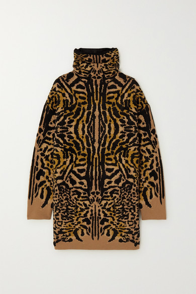Givenchy Leopard-jacquard Wool-blend Turtleneck Sweater In Leopard Print