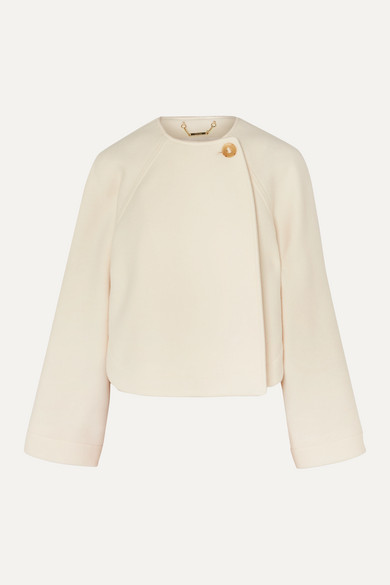 ChloÉ Chloe Off-white Wool Cropped Jacket In Ivory
