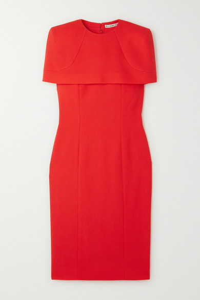 Givenchy Wool Sheath Dress With Removable Cape In Red