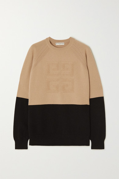 Givenchy Bi-color Intarsia Cashmere Knit Sweater In Black