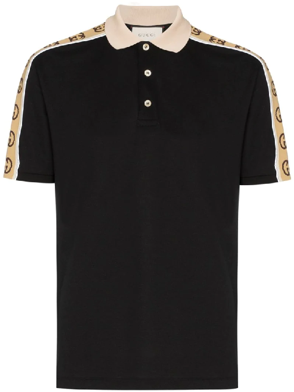 Gucci Logo-jacquard Webbing-trimmed Stretch-cotton Piqué Polo Shirt In Black