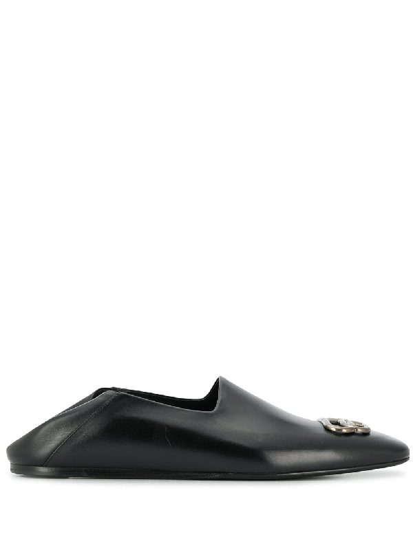 Balenciaga Cosy Bb Logo-embellished Collapsible-heel Leather Loafers In Black