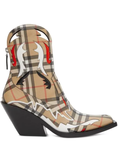 Burberry 驼色 Matlock 格纹踝靴 In Neutrals