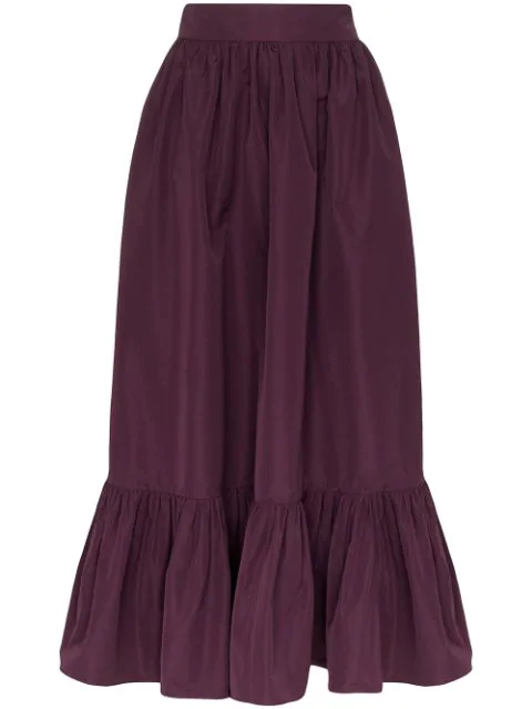 Valentino Gathered-hem Cotton-blend Faille Maxi Skirt In Purple