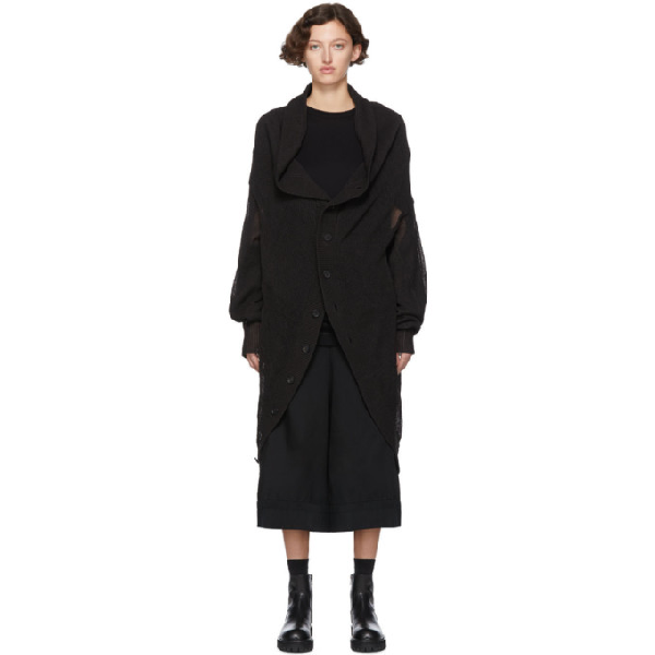 Regulation Yohji Yamamoto Black R-circle Cd Knit Cardigan In 1 Black