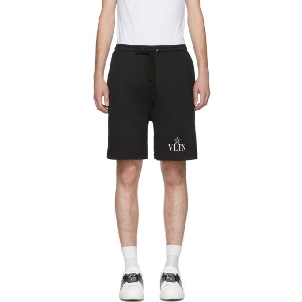 Valentino Vltnstar Logo-print Cotton-blend Track Shorts In Black