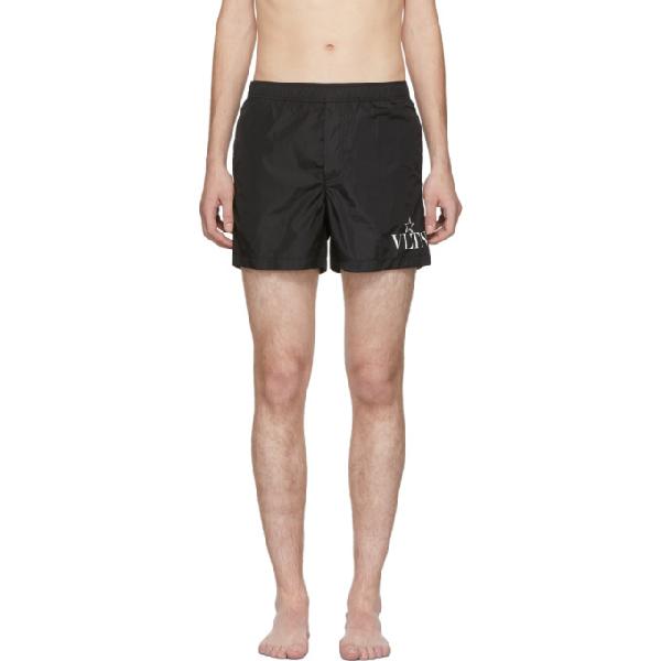 Valentino Short-length Logo-print Swim Shorts In 0ni Nero/bi