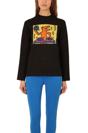 Lucien Pellat-finet Men's  Keith Haring Jacquard Sweater In Black