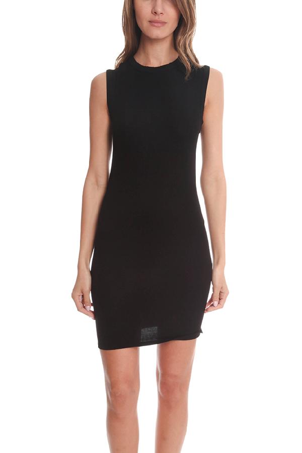 Enza Costa Women's  Rib Sleeveless Mini Dress In Black