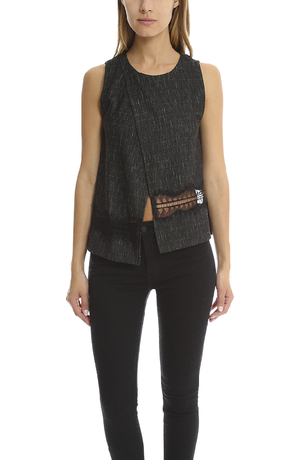 Thakoon Women's  Addition Crossover Woven Tank Top In Grey
