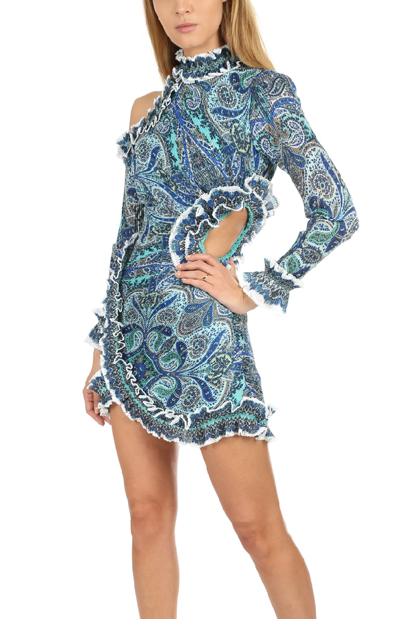 Zimmermann Women's  Moncur Ruffle Neck Mini Dress In Aqua Paisley