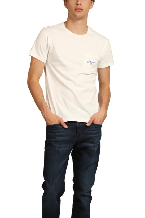 Velva Sheen Men's  X Blue&cream 11937 Pocket T-shirt In White