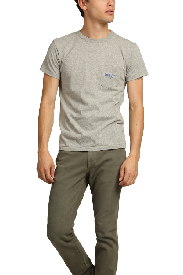 Velva Sheen Men's  X Blue&cream 11937 Pocket T-shirt In Heather Grey