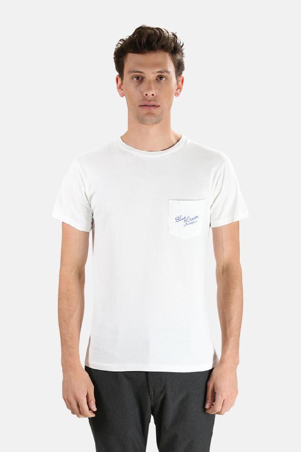 Velva Sheen Men's  X Blue&cream Hamptons Pocket T-shirt In White