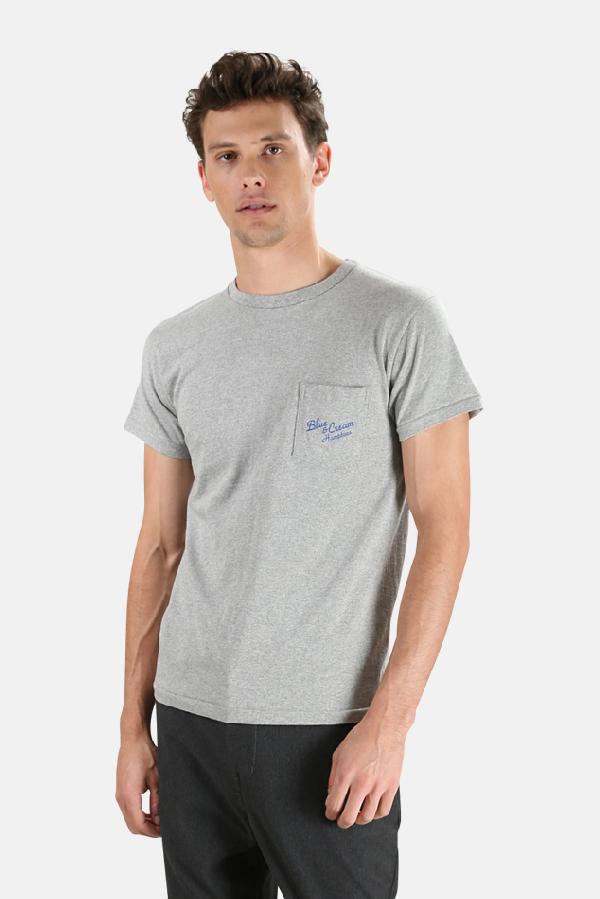 Velva Sheen Men's  X Blue&cream Hamptons Pocket T-shirt In Grey