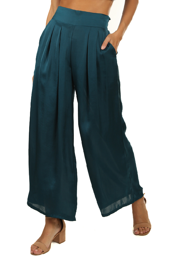 Misa Women's  Los Angeles Taj Pants In Emerald Satin